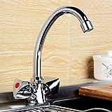 Jackeylove Küche Spüle Wasserhahn Wasserhahn Hand-Rad Wasserhahn sitzen Doppel-Griff Küche Kupfer-Körper haltbar