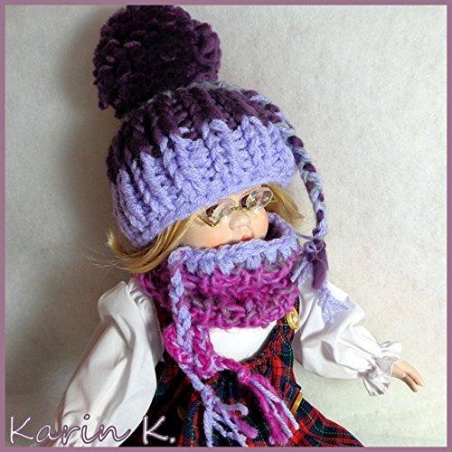 PUPPENSET: Schlauchschal und Bommel- Mütze in Violett, Lila, Pink und Grau