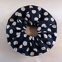 Punkte Haargummi Baumwolle / Scrunchie Marine blau weiß / Haar Accessoires / Handgefertigt