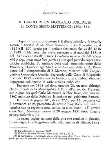 Il diario di un moderato forlivese: il conte Sesto Matteucci (1808-1851) .