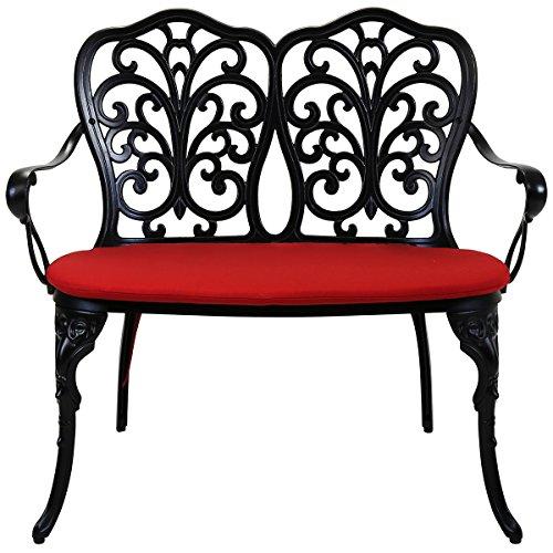 Charles Bentley - Gartenbank aus Aluminiumguss - Schwarz mit rotem Sitzpolster