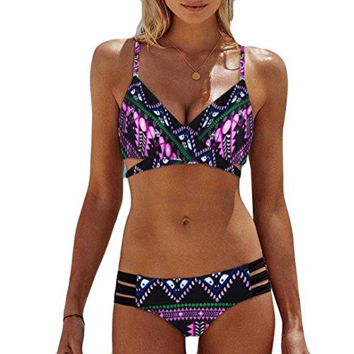 Neue Frauen Sexy Push Up Neckholder ❤️Printing Bikini Sets Büstenhalter Design Schwimmen Kostüm (Pink, M) (Flower Halter Bikini)