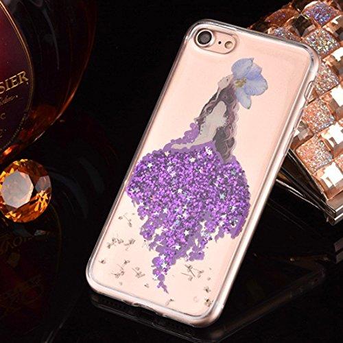 Epoxy Dripping gepresste echte getrocknete Blume Glitter Powder Meerjungfrau weichen TPU Schutzhülle Back Cover für iPhone 7 by diebelleu ( Color : Magenta ) Purple