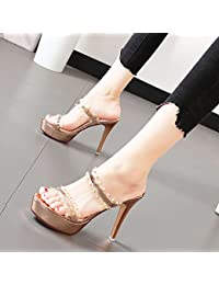 Xue Qiqi Très bien avec les chaussures de femmes sort de la mode des souliers à talon couleur fixations oblongs, dew-toe Sandales femme wild,36, Beige