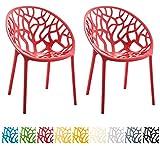 CLP 2er-Set Gartenstuhl Hope aus Kunststoff I 2X Wetterbeständiger Stapelstuhl mit Einer max. Belastbarkeit von: 150 kg I erhältlich Rot