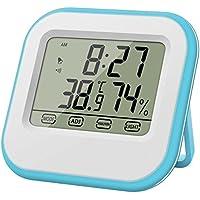 3-IN-1 Touchscreen Mini-Wetterstation, Thermometer und Hygrometer mit Uhr und Alarm Weiß