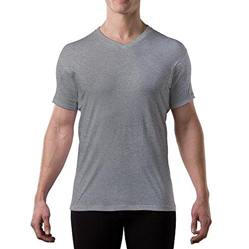 Thompson Tee - Anti-Schweiß Kurzarm-Unterhemd mit Achselschweiß-Polstern - normale Passform - V-Ausschnitt ,Heather Grey,S -