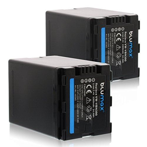 Blumax 2X VW-VBN390 Akku Kompatibel mit Panasonic HDC-SD800 HDC-SD900 HDC-SD909 HDC-TM900 HDC-HS900 - HC X929 X 810 X909 X 900 X800 3300mAh 7,4V 24,4WhMehr Leistung als Original Akku