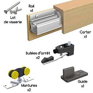 Système coulissant en applique avec bandeau bois finition pin massif SAF-CLIP pour porte intérieure de 730 mm sans tapée