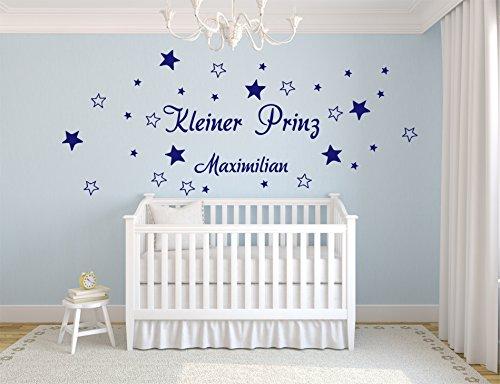 Kleiner Prinz + 30 Sterne + Wunschname XXL WANDTATTOO WANDAUFKLEBER Name B404 (saphirblau)