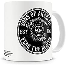 """Taza Sons of Anarchy/Hijos de la Anarquía """"Fear the Reaper/Teme al Segador"""""""