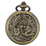 ManChDa® Antike Mechanische Taschenuhr Lucky Dragon & Phoenix (Wünsche) Bronze Skelett-Zifferblatt mit Kette + Geschenk-Box