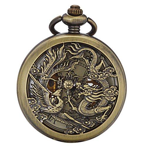 ManChDa Antike Mechanische Taschenuhr Glückliches Tier (Wünsche) Dragon & Phoenix Skelett-Zifferblatt mit Kette + Geschenk-Box (1.2 Phoenix & Drachen bronze)