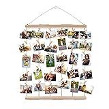 AIEVE Colgar pantalla de fotos,madera colgar marcos de pantalla de fotos,colgar en la pared organizador de fotos con clips para la decoración de la pared fotos