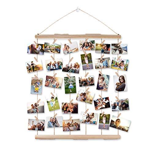 Bilderrahmen Collagen,AIEVE Fotowand Holzbilderrahmen Fotorahmen Wanddekoration mit Klammer um mehre Fotos Aufzuhängen für DIY Basteln Geschenk