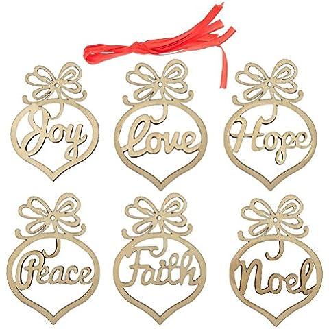 ROSENICE Tag in legno MDF fede Noel tag di etichette per la decorazione di Natale (Fede Regalo)
