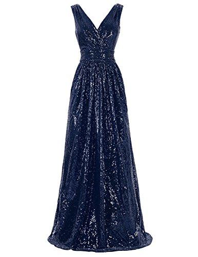 Kate Kasin Ärmelloses Brautkleid mit Pailletten für Damen Xmax Dinner Navy Blue 44 KK199-7