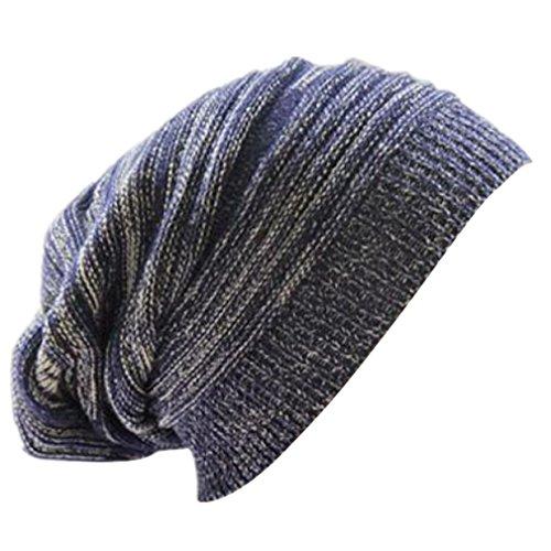 Longra Unisex stricken ausgebeulten Mütze Barett Winter warm überdimensionalen Kappe Strickmützen (Blau)