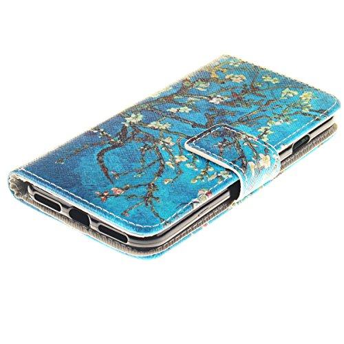 iPhone 7 Hülle, SpiritSun PU Leder Wallet Schutzhülle für Apple iPhone 7 (4.7 Zoll) Bookstyle Design Ledertasche Case Tasche mit Standfunktion und Kredit Kartenfächer Magnetverschluss Magnet Etui - Tr Blume und Baum