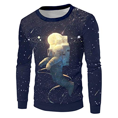 Ai Ya-weiyi Les Hommes Streetwear Hip Hop O Cou Pulls Nouvelle Mode Homme Digtial 3D'Astronaute Imprimer Sweat Hoodies Galaxy Star