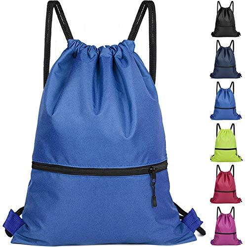 Rucksack mit Kordelzug für Damen und Herren, Größe L, für Reisen, Wandern und mehr, 6 Farben, Unisex-Erwachsene (nur Gepäck), blau, One_Size