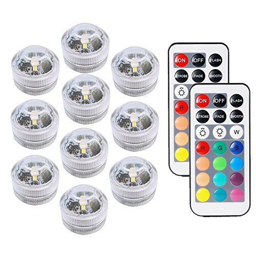 COOLEAD 10Pcs RGB LED Luz Sumergible Control Remoto