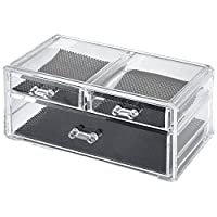 LaRoc Clear Acrylic Beauty Cosmetic Organiser Makeup Drawers Tray Display Box Case