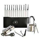 AMILE 20 Stück Dietrich Set Werkzeuge mit Transparent Praxis Vorhängeschloss für Anfänger und Schlosser