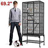 Popamazing 3 Tiers Large Bird Breeding Cage/Aviary for Chinchilla/Cockatoo/Parrot/Finch Bird with Perch Stand and Wheels