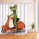 GzHQ 3D-Digitaldruck Tiere, Frosch, Reiten, Orange, Motorrad-Duschvorhang, schimmelresistenter Stoff, Badezimmer-Dekoration, Badevorhänge, inkl. Haken 180,3 x 182,9 cm
