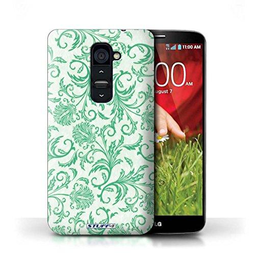 Kobalt® Imprimé Etui / Coque pour LG G2 / Fleurs Rouges conception / Série Fleurs Fleurs Vertes