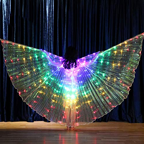ToDIDAF Belly Dance Costumes for Kids, Glowing Angel Wings with Telescopic Sticks, 172 LED Lamps, Performance Props for Halloween Christmas Fasching Carnival Festival Stage Show 125 (Iron Mann Kostüm Baby)