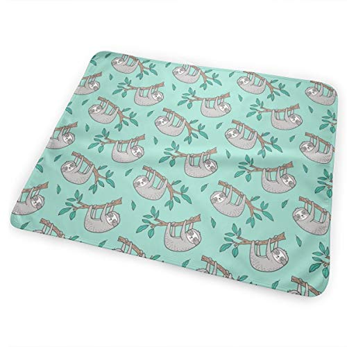 Sloth Sloths On Tree Branch With Leaves On Mint Smaller 1,5 Inch Portable Waterproof Baby Changing Pad Diaper Large Size (25.5