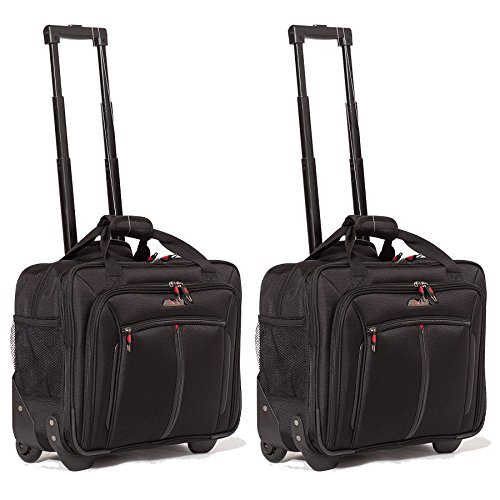 Aerolite 17' Trolley da Viaggio Borse da lavoro Borsa per portatile con ruote Bagaglio a Mano Borsa per notebook - Approvato per Ryanair, Easyjet, BA & Jet2, Nero