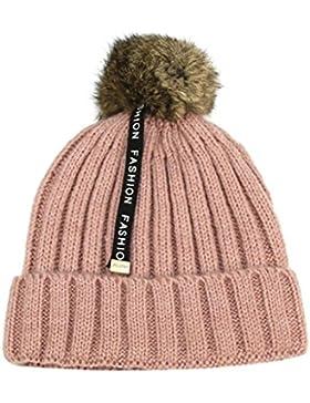 BBsmile - Bebé Niños Gorra de Invierno Cálido - punto pelota Tejer Algodón Sombreros para 2-8 años