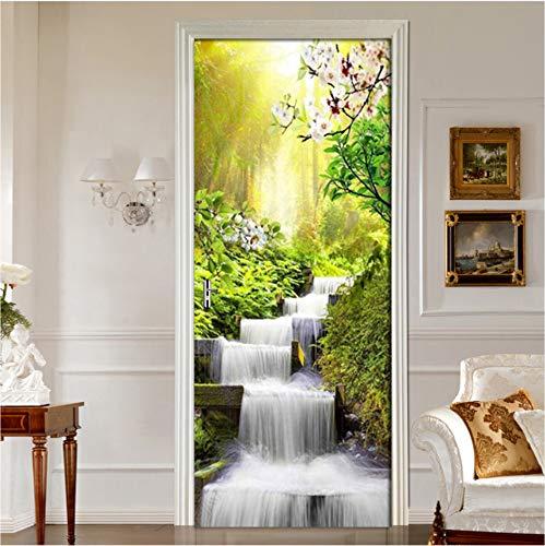 Tür Wandbild Wrap Wald Wasserfall Landschaft Muster Tür Aufkleber Umweltfreundliche Tür Home Decor Aufkleber Selbstklebende Wandaufkleber 80X200Cm