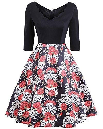 ZAFUL Robe Vintage années 50 's Style Audrey Hepburn Rockabilly Swing Robe de soirée Robe Rétro à Manches 3/4 design Flamingo ou Swan 2XL