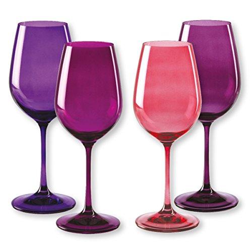 Bruno Evrard Verres à vin en verre rose 35cl - Lot de 4 - KADOR