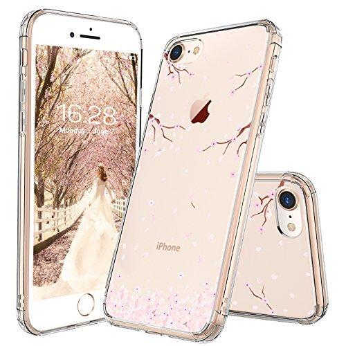 MOSNOVO iPhone 8 Hülle, iPhone 7 Hülle, Blossom Blühen Blumen Flower Muster TPU Bumper mit Hart Plastik Hülle Durchsichtig Schutzhülle für iPhone 7 (2016) / iPhone 8 (2017) (Sakura Flowers Blossom)
