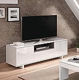 Miroytengo Mesa baja para televisión blanca 3 puertas mesa multimedia TV fabricada en España