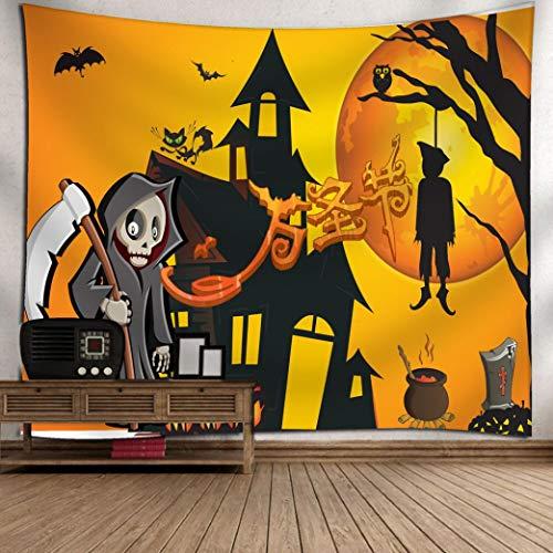 (VEMOW Neue Kommende Halloween Mond Kürbis Tapisserie Zimmer Tagesdecke Wand Kunst hängenden Home Decor Grand 130cm x 150cm/51.18