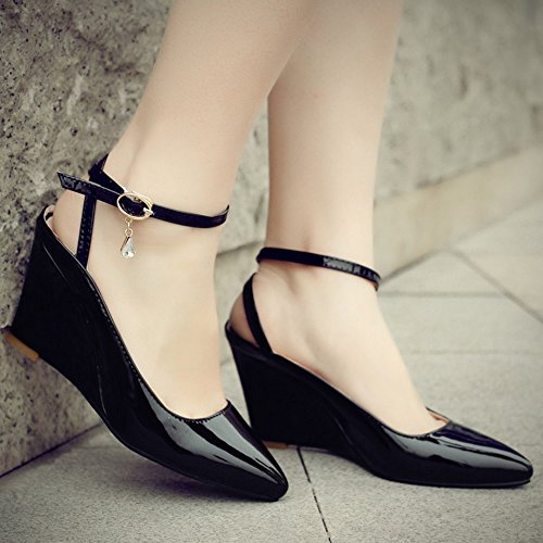 COOLCEPT Damen Mode Knochelriemchen Sandalen Geschlossene Keilabsatz Slingback Schuhe Schwarz