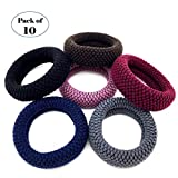 10 Stück ultimative starke Haargummis die Pferdeschwanz Inhaber für Frauen große Baumwolle elastische Haarbänder für dickes schweres Haar