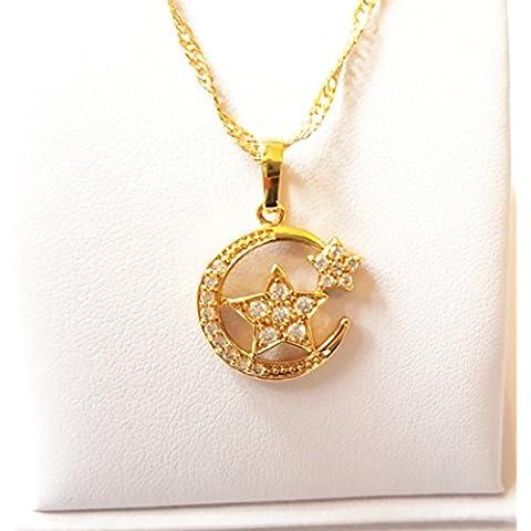 Crescent Moon Star Ayat al kursi Muslim Allah placcato oro 18K cristallo ciondolo collana 18K Real placcato oro Sura Muhammed Allah occhio arte islamica ricamo regolabile