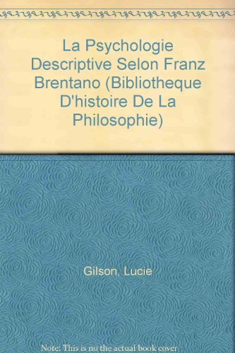 La psychologie descriptive selon Franz Brentano