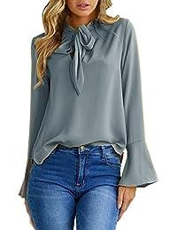 Mujer Camiseta BBestseller Blusas Mangas Largas Elegante Moda Oficina Atractivas del Escote Redondo con Cordones De