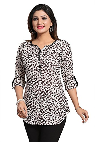 Color Petal Brown Colour Printed Short Cotton Kurti/Tunic/Top for women and girls...