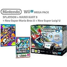 Nintendo Wii U consola Premium Pack 32GB + Mario Kart 8 + Splatoon + Super Mario & Luigi