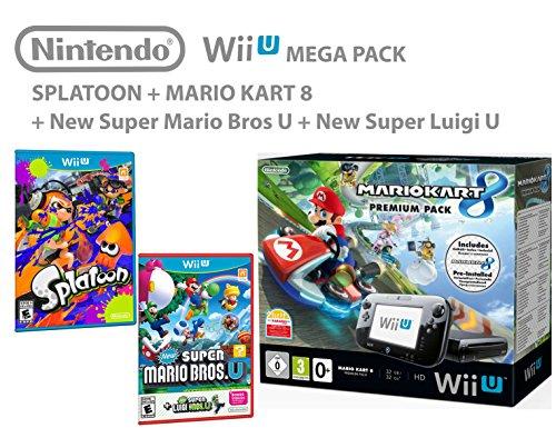Nintendo Wii U Premium Pack 32GB + Mario Kart 8 + Splatoon + Super Mario & Luigi (Wii U Super Mario Kart)
