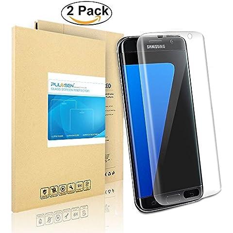 Galaxy S7 edge de Pantalla, PULESEN® [2-PACK] Protector de pantalla para Samsung Galaxy S7 Edge [borde a borde] y extrema claridad invisible protección